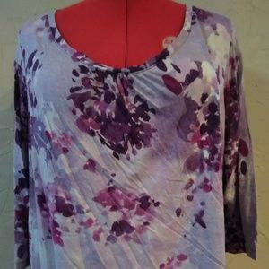 St. John's Bay 2X Purple 3/4 Sleeve Knit Top